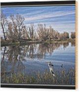 Sacramento Wildlife Refuge Pond With Blue Heron Wood Print