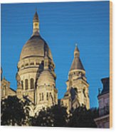 Sacre Coeur - Night View Wood Print