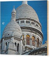 Sacre-coeur And Moon Wood Print