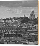 Sacre Coeur Over Rooftops Black And White Version Wood Print