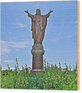 Sacred Heart Of Jesus Sculpture In Saint Laurent On Ile D'orleans-qc Wood Print