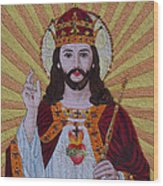 Sacred Heart Of Jesus Hand Embroidery Wood Print