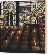 Sacred Heart Prayer Candles Wood Print