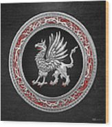 Sacred Silver Griffin On Black Leather Wood Print