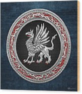Sacred Silver Griffin On Blue Leather Wood Print