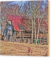 Sad Barn -  Featured In 'old Buildings And Ruins' Wood Print