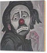 Sad Clown Wood Print