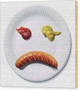 Sad Food Face Wood Print