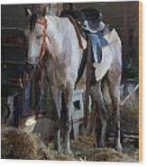 Sad Horse Wood Print