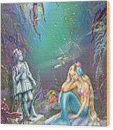 Sad Little Mermaid Wood Print by Zorina Baldescu