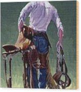 Saddle Bronc Rider Wood Print by Randy Follis