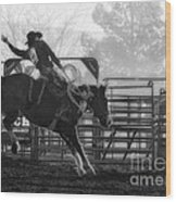 Saddle Bronc Riding Wood Print