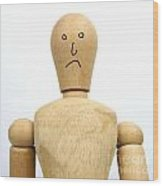 Sadness Wooden Figurine Wood Print by Bernard Jaubert