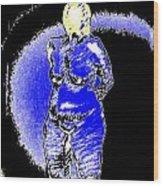 Safe Blue Woman Wood Print