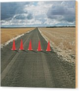 Safety Cones Lined Up Across A Rural Wood Print