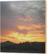 Saffron Clouds Glow Wood Print