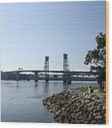 Sagadahoc Bridge Bath Maine Wood Print