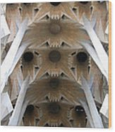 Sagrada Familia Ceiling Detail Wood Print