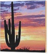 Saguaro At Sunset Wood Print