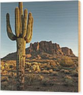 Saguaro Cactus And Superstition Wood Print