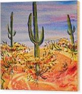 Saguaro Cactus Desert Landscape Wood Print