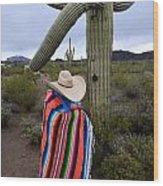 Saguaro Cactus The Visitor 1 Wood Print
