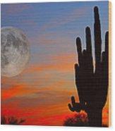 Saguaro Full Moon Sunset Wood Print