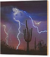 Saguaro Lightning Nature Fine Art Photograph Wood Print by James BO  Insogna