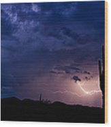 Saguaro Lightning  Wood Print