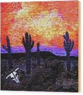 Saguaro Silhouettes and Skull Wood Print