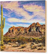 Saguaro Superstition Mountains Arizona Wood Print