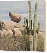 Saguaros And Big Rocks Wood Print