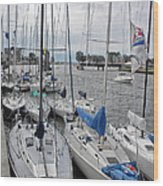 Sail Boats Docked For The Night Wood Print