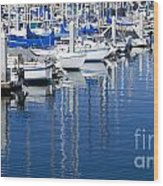 Sail Boats Docked In Marina Wood Print