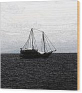 Sail In The Black Sea Wood Print