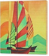 Sail To Shore Wood Print by Tracey Harrington-Simpson