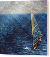 Sailboarding W Metal Wood Print