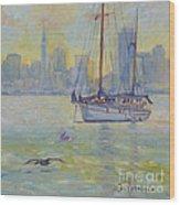 Sailboat Anchored At Sunset Wood Print