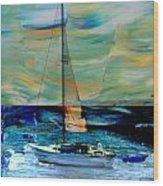 Sailboat And Abstract Wood Print