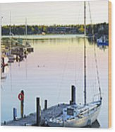 Sailboat At Sunrise Wood Print