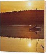Sailboat At Sunrise Wood Print