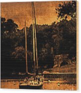 Sailboat By The Bridge Wood Print
