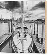 Sailboat Docked Wood Print by John Rizzuto