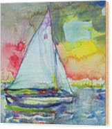 Sailboat Evening Wc On Paper Wood Print