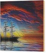 Sailboat Fractal Wood Print by Shane Bechler