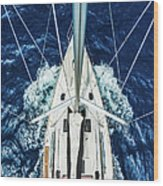 Sailboat From Above Wood Print