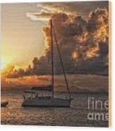 Sailboat In Sunset Wood Print