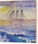 Sailboat In The Ocean Wood Print