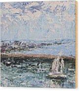 Sailboat In The Waukegan Harbor Wood Print