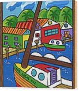 Sailboat In The Window Wood Print